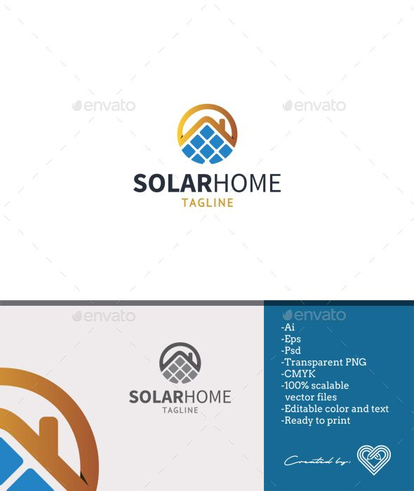 solar home logo template logo templates ai illustrator