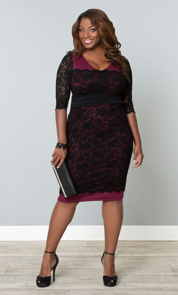 a3dbf401d7c Kiyonna Plus Size RSVP Lace Dress is what you want hugging all your  fabulous curves on your way to that party where you will look totally  fabulous and sexy!