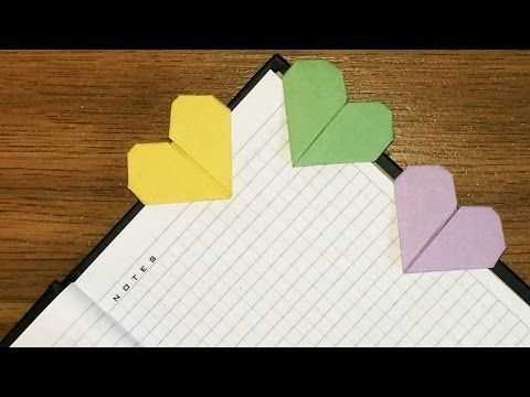 How To Make An Origami Heart Bookmark Post It Notes Youtube