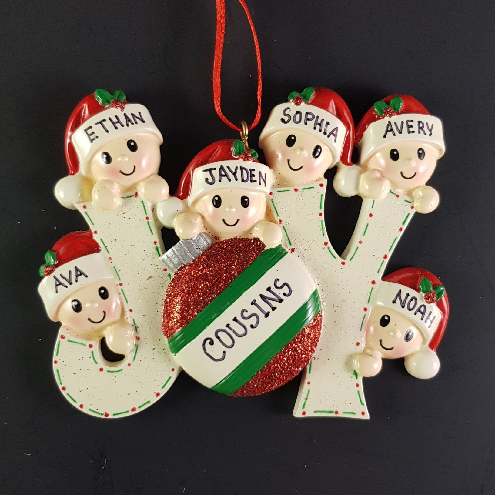Elves Family of 6 Personalized Christmas Ornament Joy