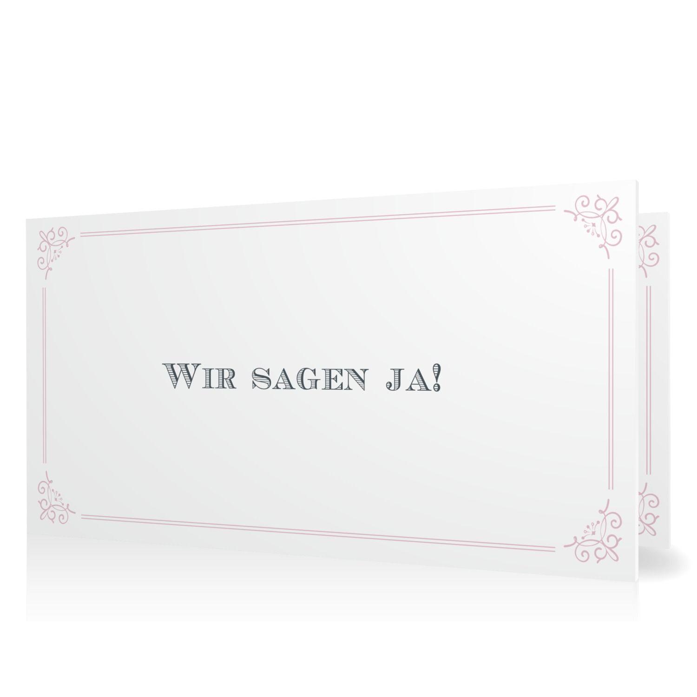 Hochzeitseinladung eleganter Rahmen in Malve Klappkarte flach