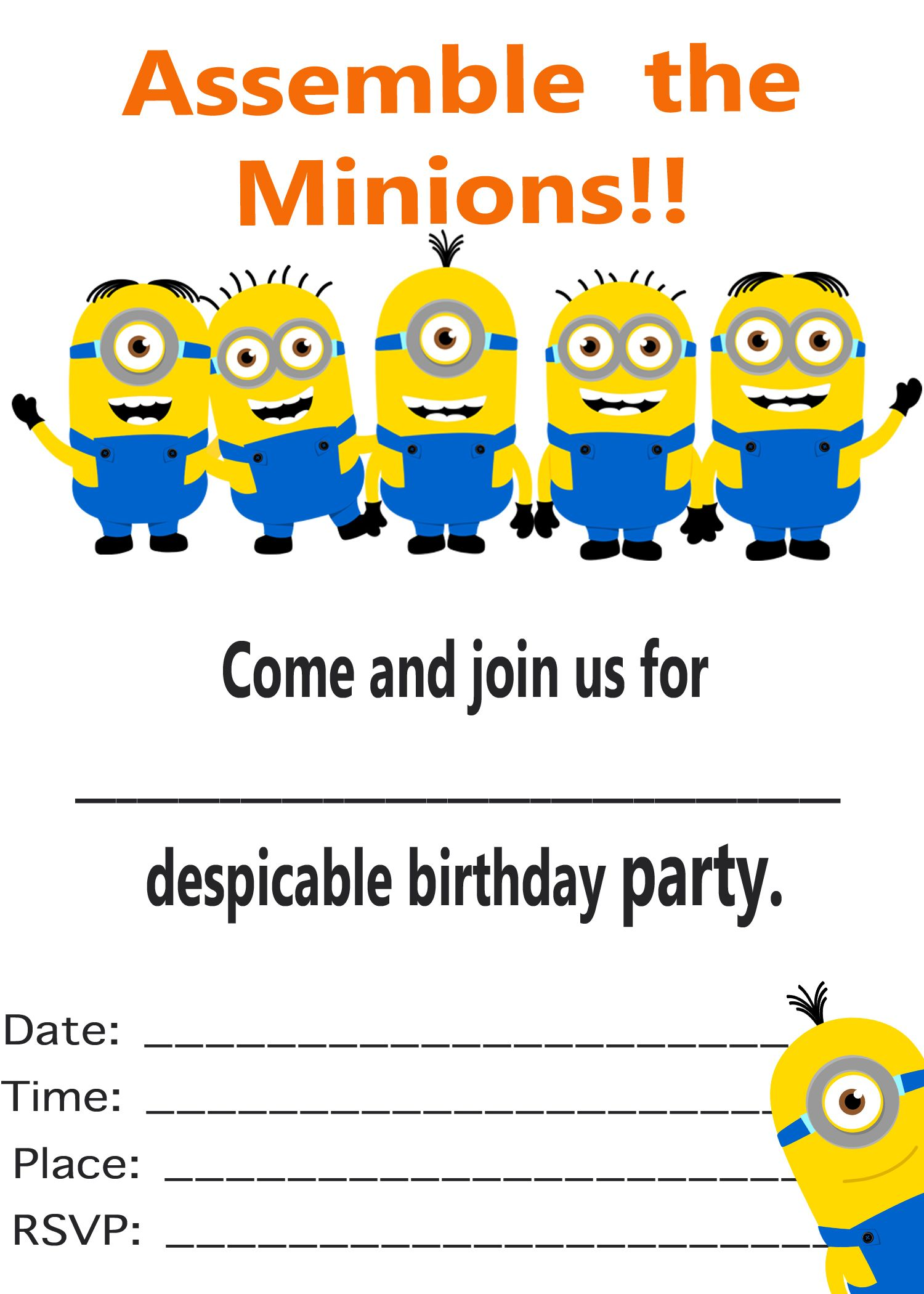 graphic regarding Free Printable Minion Invitations referred to as Minion Invitation Printable Templates Minions/Despicable