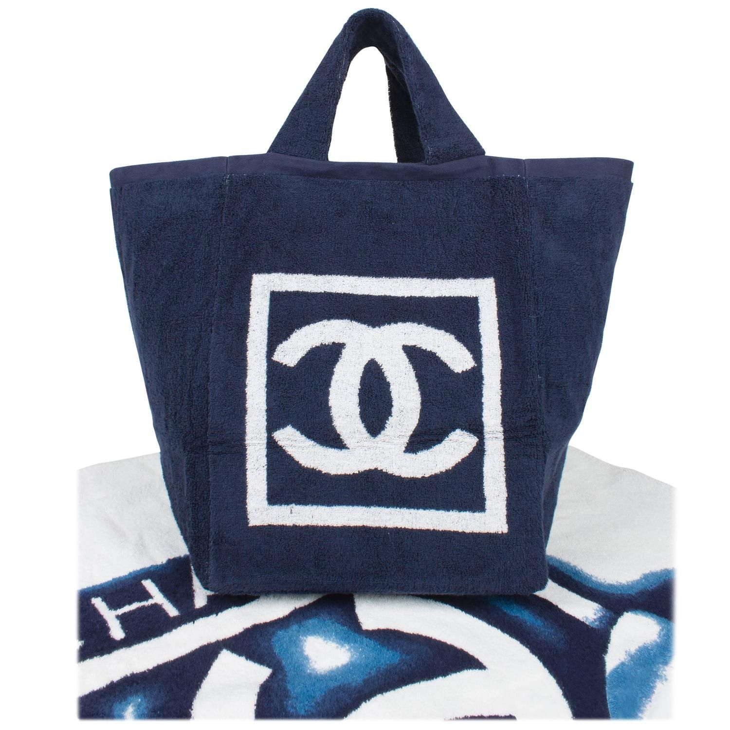 2c4b67a7312b Chanel Beach Bag and Towel - navy blue/white terry cloth in 2019 ...