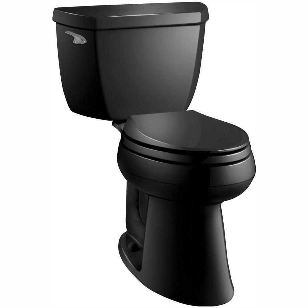 Kohler Highline Classic Comfort Height 2 Piece 1 28 Gpf Single Flush Elongated Toilet In Black Black Seat Not Included Toilet Kohler Cimarron Black Toilet