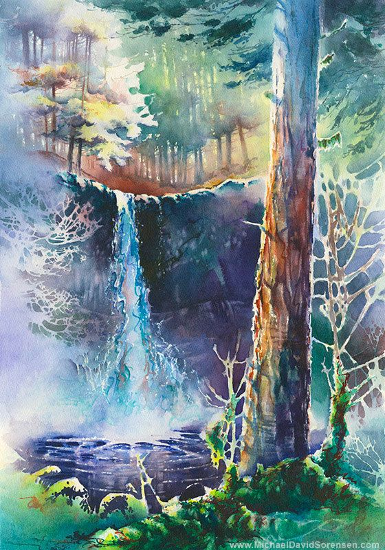 """""""Silver Falls"""" Watercolor Print by Michael David Sorensen"""