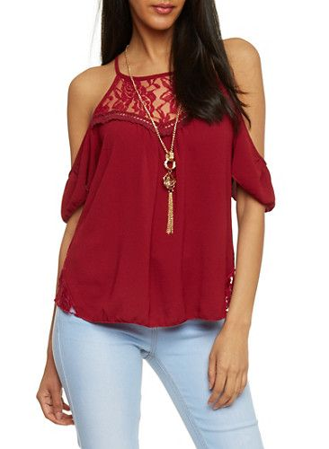 Lace Yoke Cold Shoulder Crepe Knit Top with Necklace,BURGUNDY