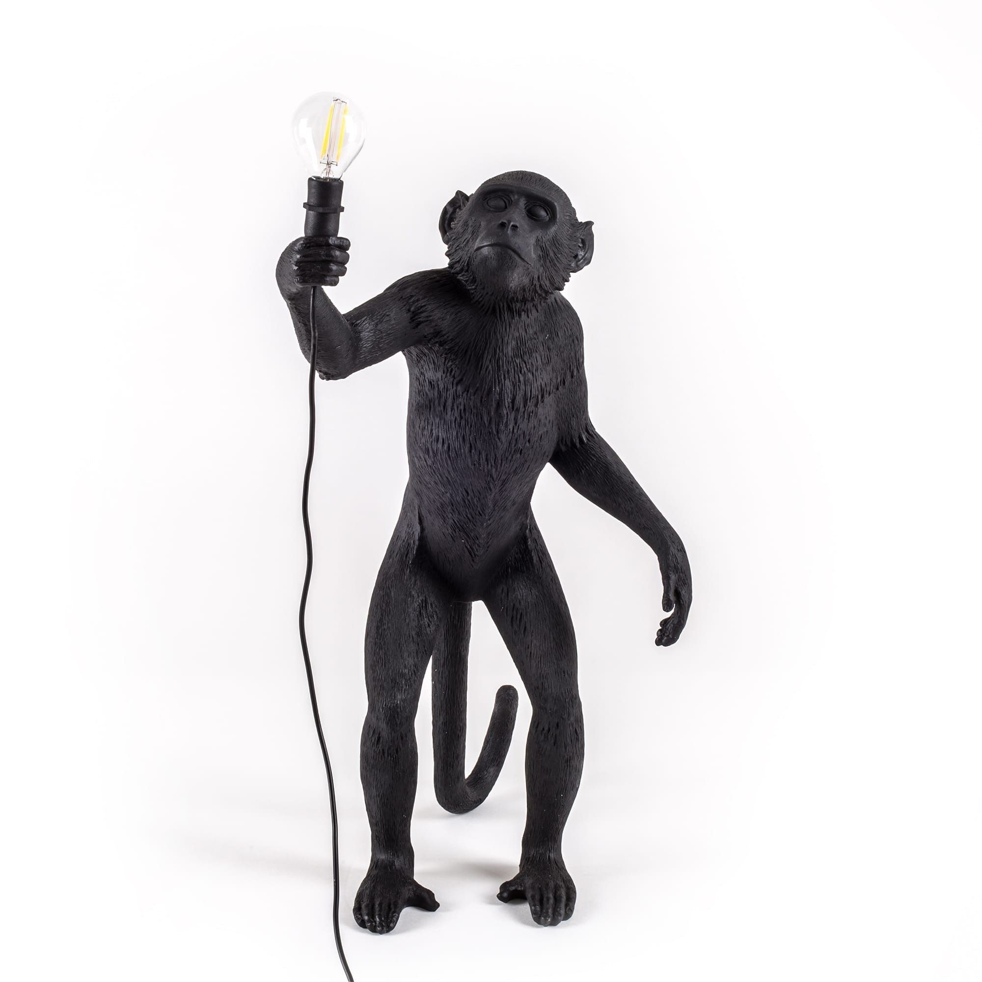The Monkey Lamp In Black Standing Version In 2020 Black Lamps Lamp Rope Lamp