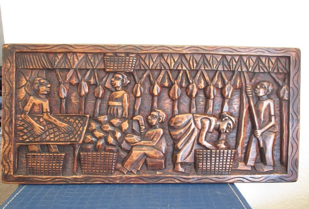 Vintage African Tribal Relief Carved Wood Panel Wall Art Story Board Carving Carved Wood Wall Art Wood Panel Walls Wood Paneling