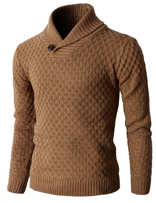 H2H Men's Knit Pullover Long Sleeve Hexagon Patterned