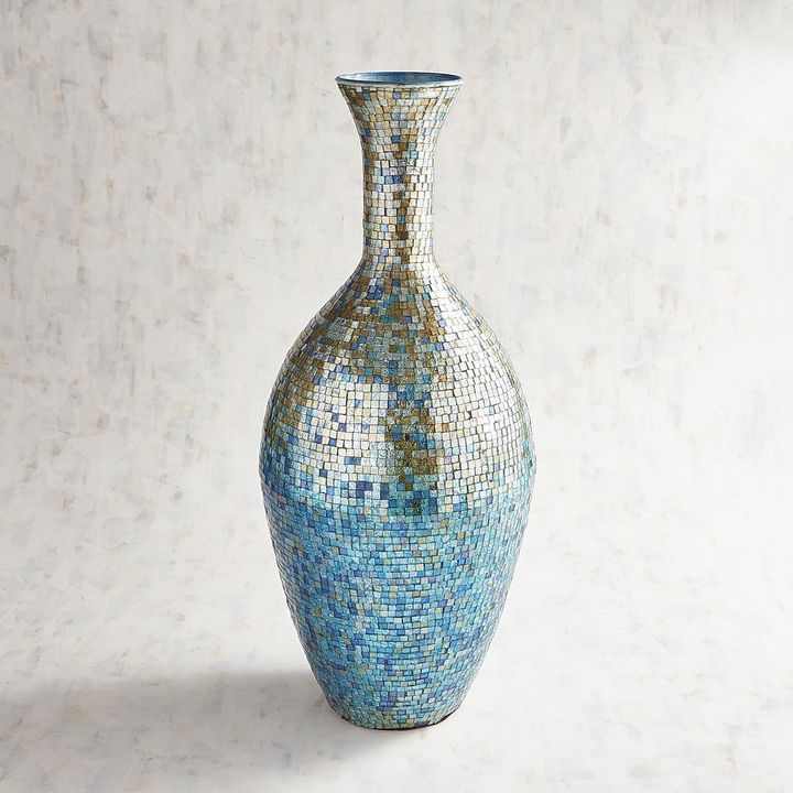 Pier 1 Imports Teal Multicolor Mosaic Vase Products