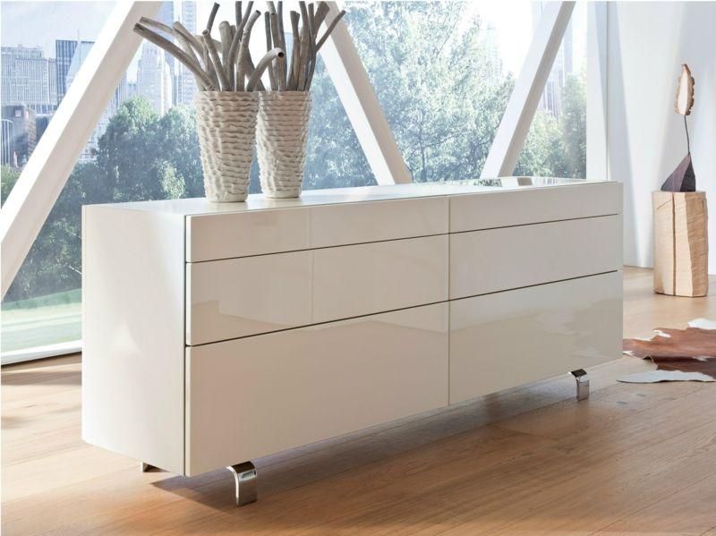 buffet blanc laqu avec pieds m talliques chrome neo par. Black Bedroom Furniture Sets. Home Design Ideas