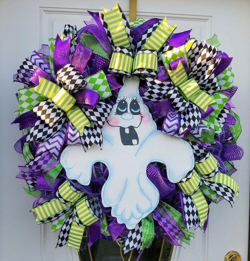 Purple Halloween Ghost Wreath, Front Door Ghost Decor, Halloween - halloween ghost decor