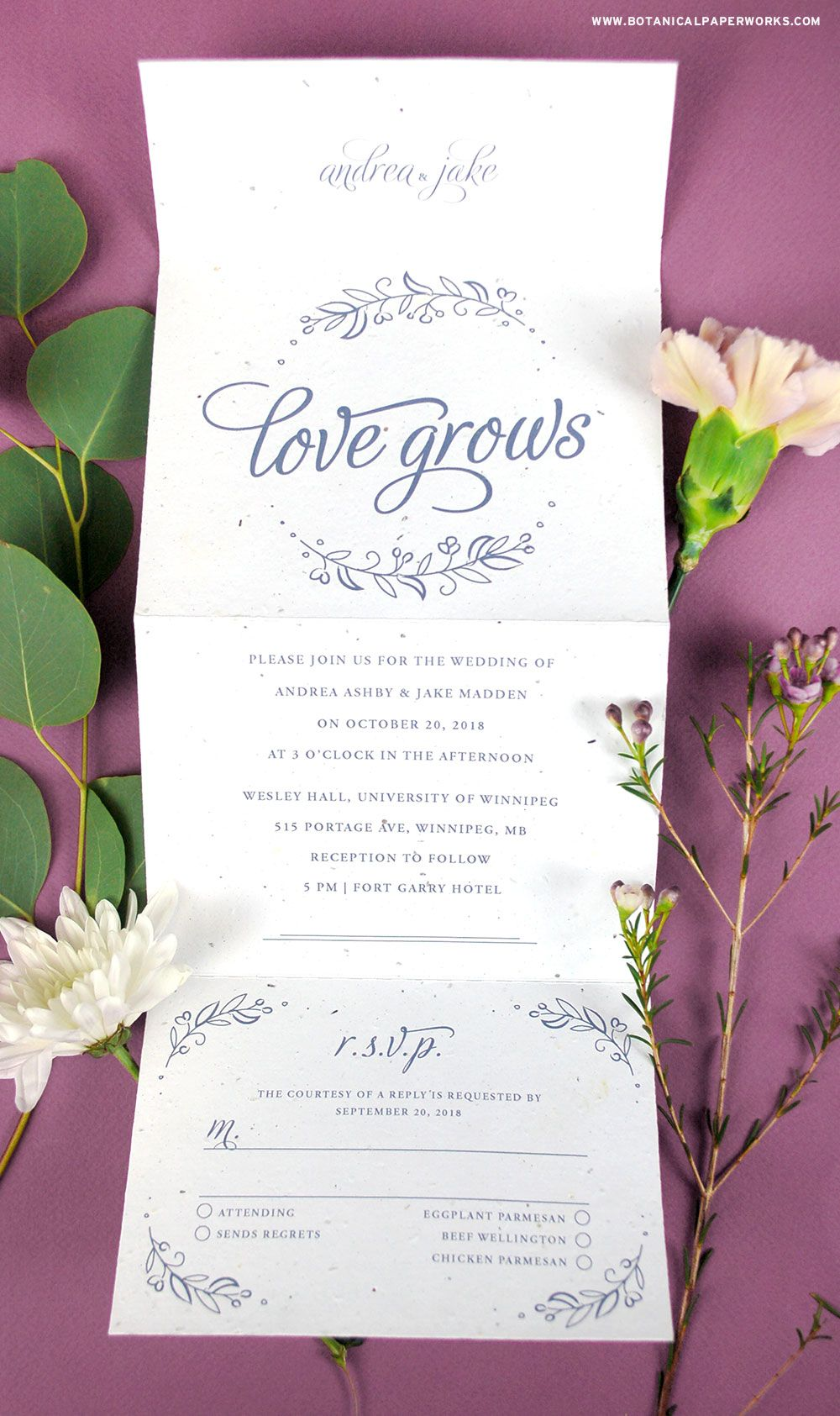 This seal and send seed paper wedding invitation is 100% plantable ...
