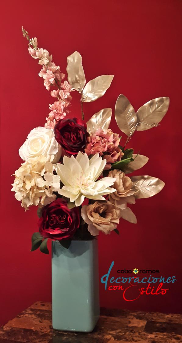 Arreglo floral con flores artificiales flores naturales - Arreglos florales artificiales centros de mesa ...
