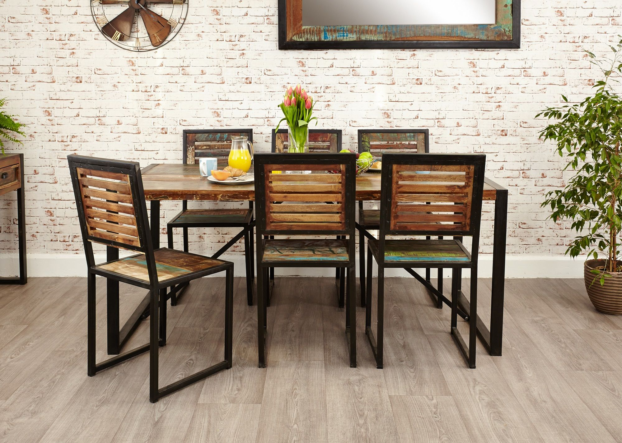 Industrial dining table and chairs - Industrial Chic Large Dining Table Hampshire Furniture