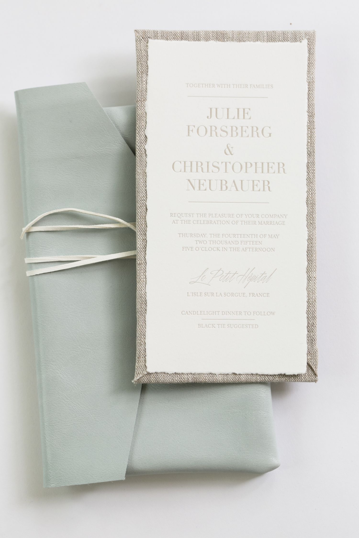 Yonder Design Leather Envelope Linen Invitation Linen Board