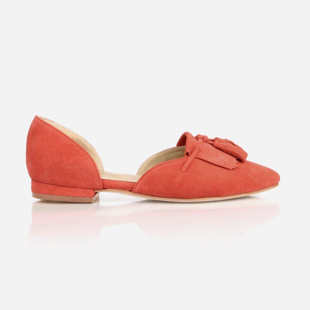 7dba08b267b The D Orsay Fringe Flat - red suede womens tassel flat - Poppy Barley