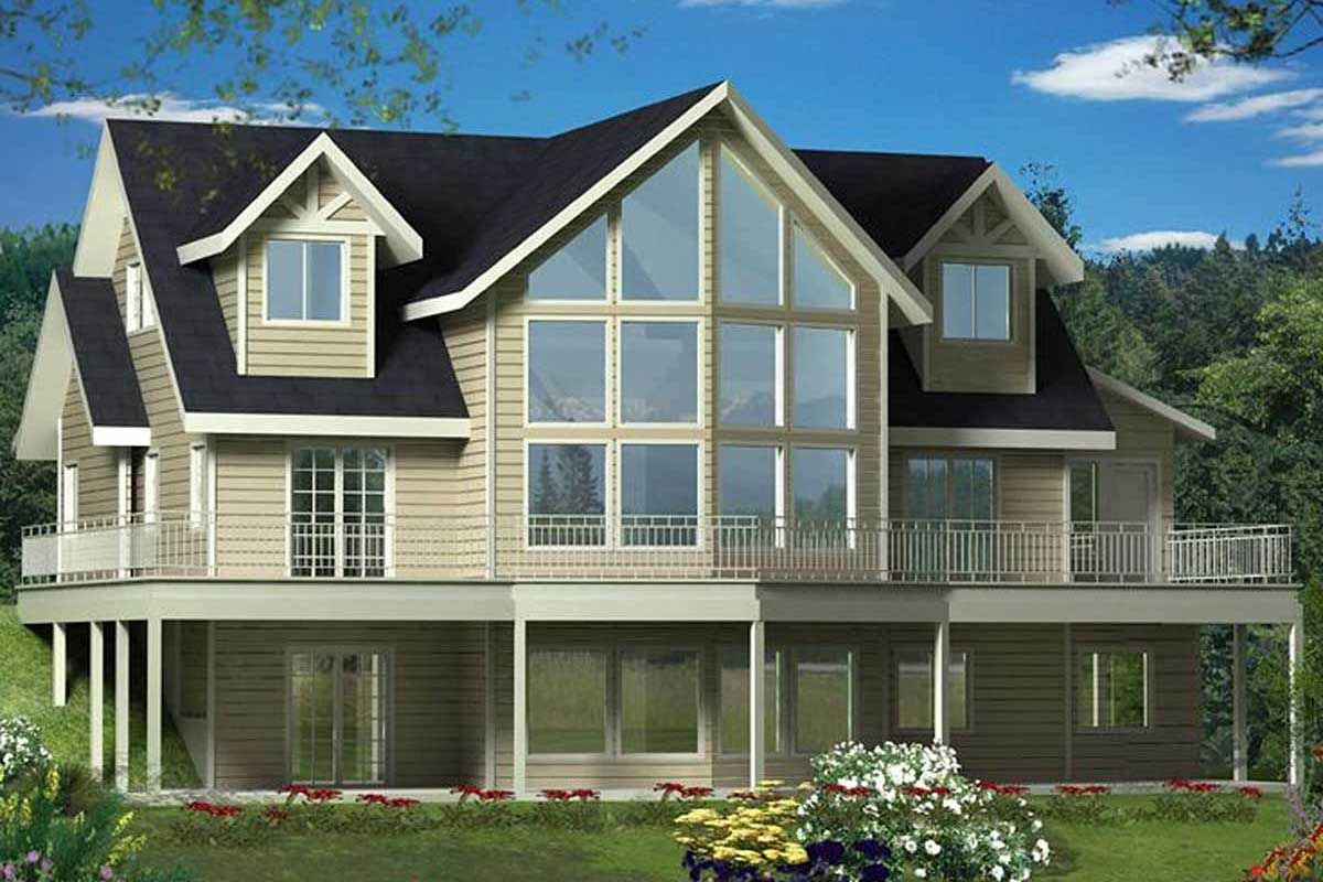 Plan 35484gh Mountain Home Plan With Dramatic Two Story Windows In 2021 Mountain House Plans Two Story Windows House Plans