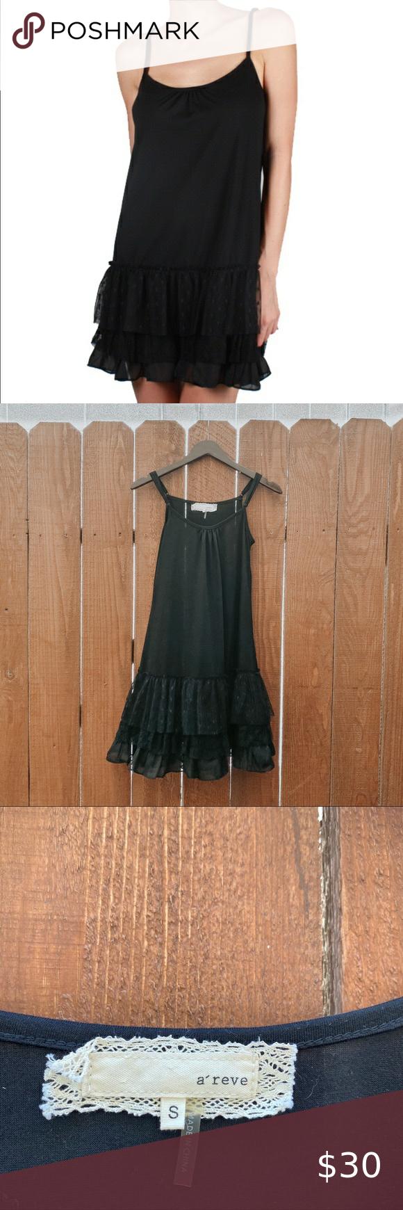 Anthro A Reve Black Slip Dress With Ruffle Bottom In 2020 Black Slip Dress Slip Dress Black Slip Ons [ 1740 x 580 Pixel ]