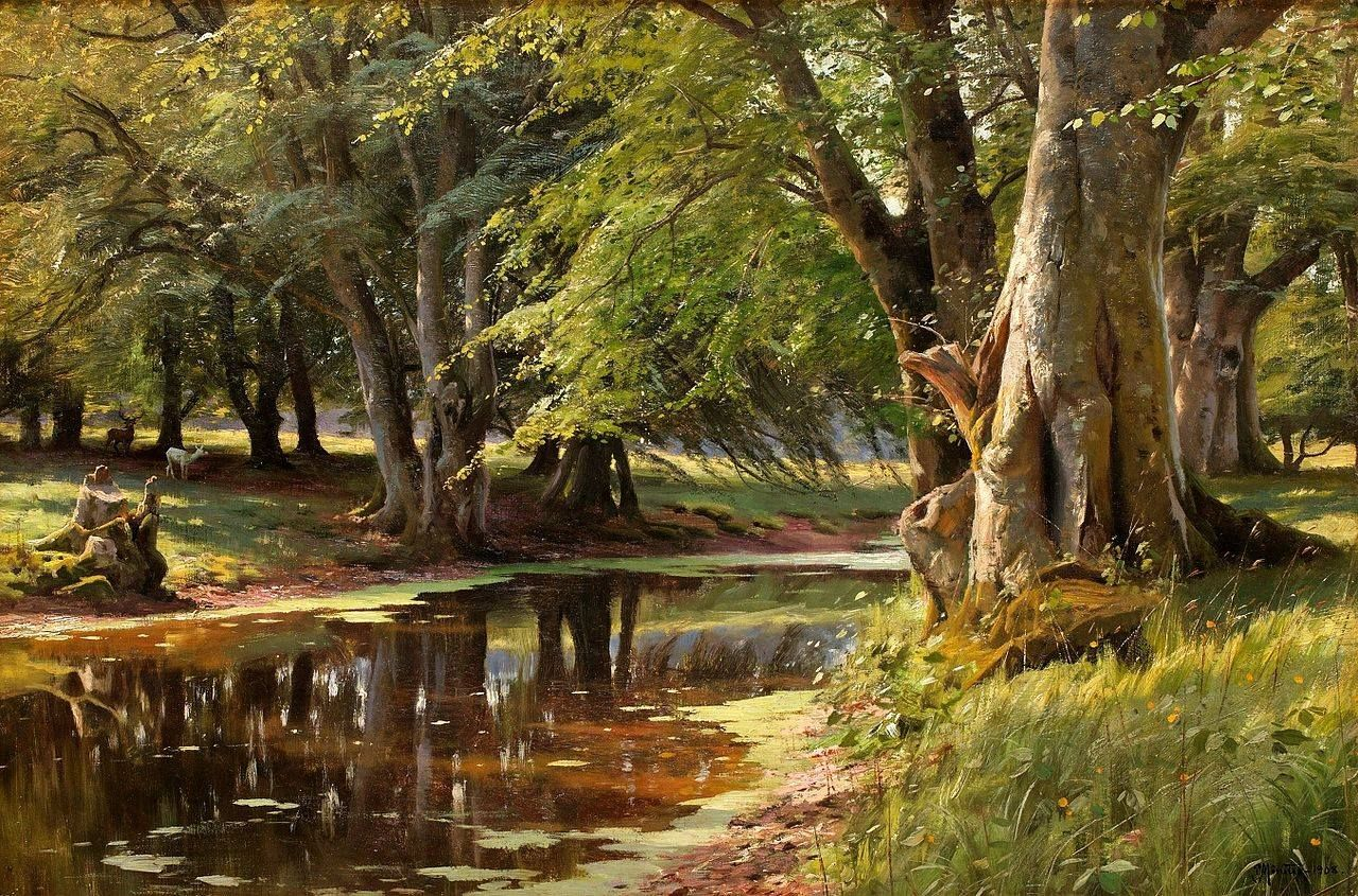 Significato Pittura En Plein Air Peder Mork Mønsted Park Lake Painting Painting E Ceramic Tile Art