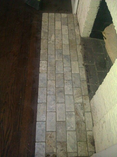 Stone Tile In Front Of Fireplace Flooring And Tile Pinterest