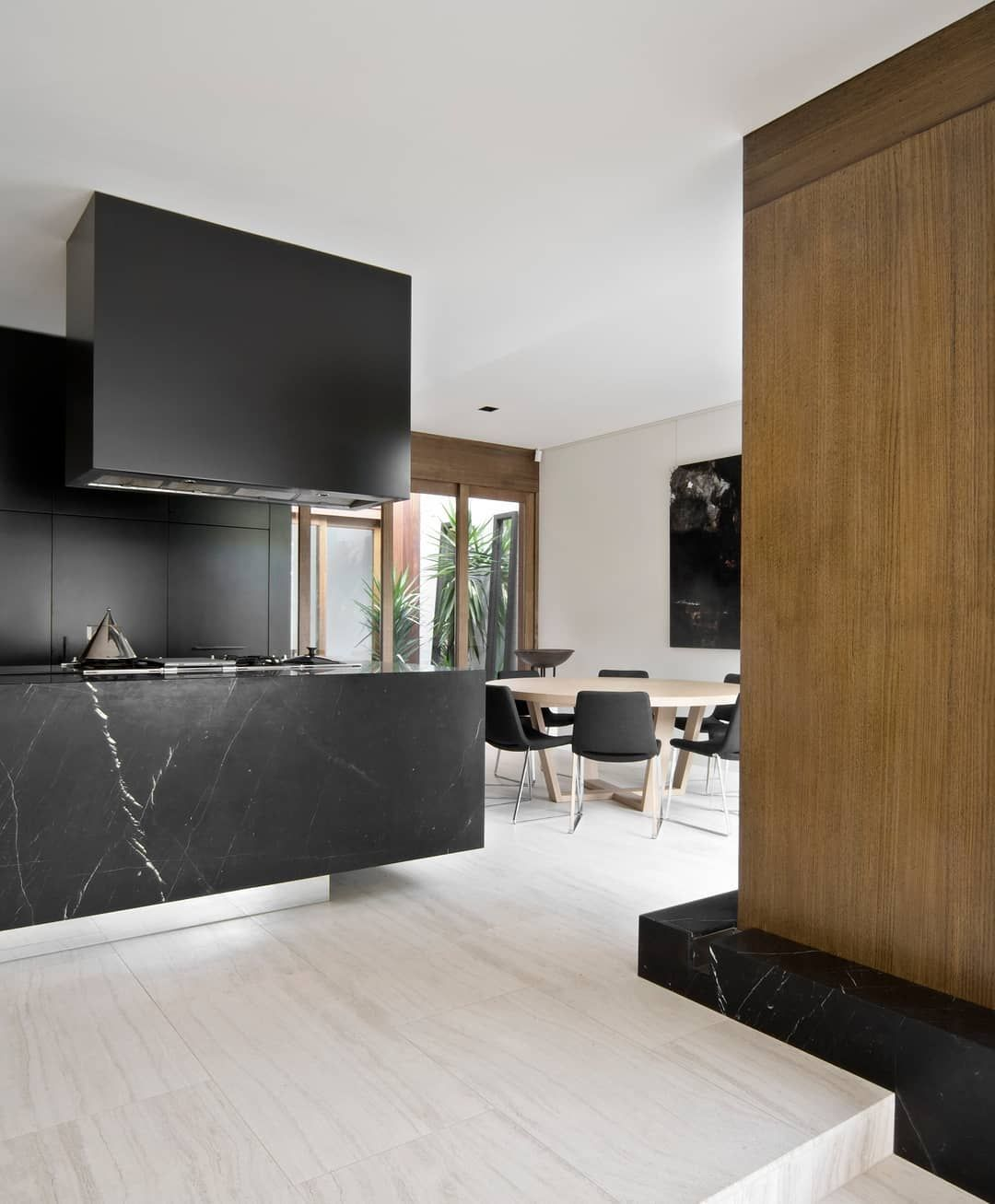 Chamberlain Architects On Instagram A Different View Of Our Black Marble Kitchen Featuring Nero Marquina Marble Kitchen Marble House Design Melbourne House
