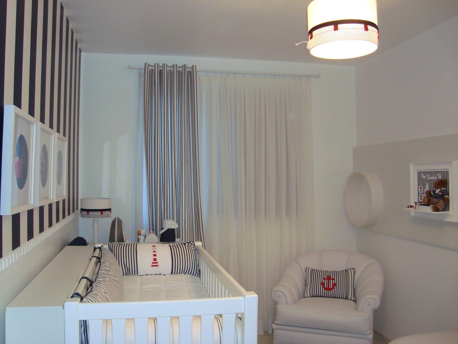 Quarto Para Bebe Decorado Motivos Nauticos Jpg 1600 1200 Baby  ~ Quarto De Bebe Decorado Com Gesso
