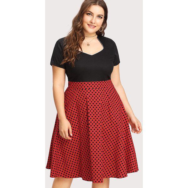 SheIn sheinside Polka Dot Circle Dress €18 ❤ liked on Polyvore