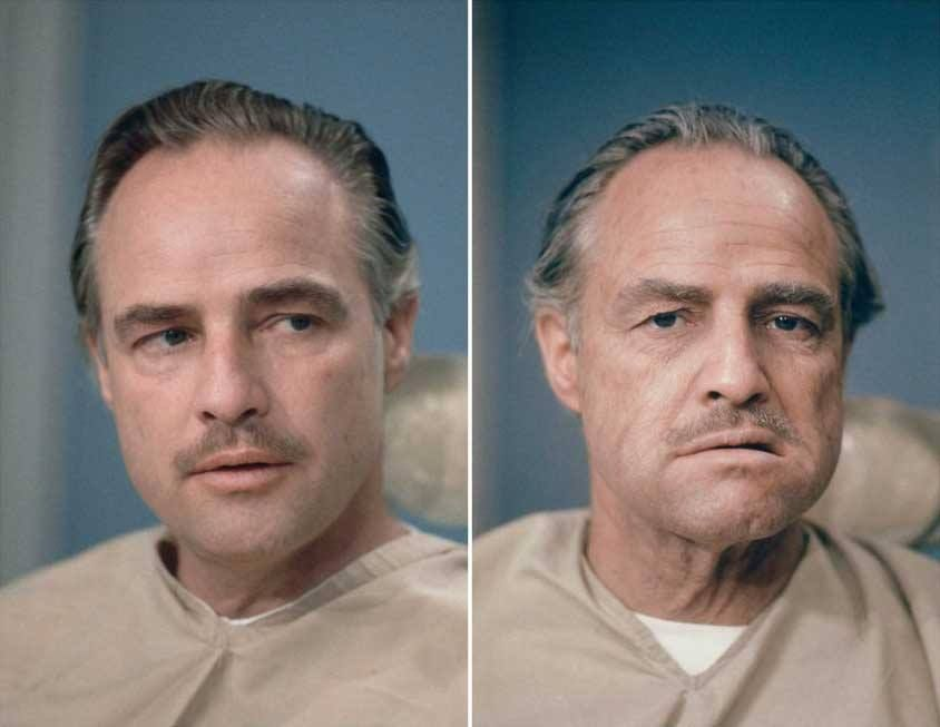 """Marlon Brando, before and after the makeup applied on him by Dick Smith on """"The Godfather"""". His transformational work compelled others to deem Smith """"The Godfather of Makeup""""."""