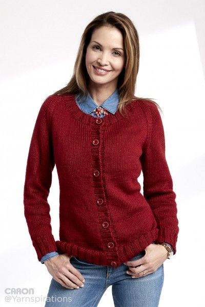 c824291f6fd3c Adult Knit Crew Neck Cardigan Free Knitting Pattern