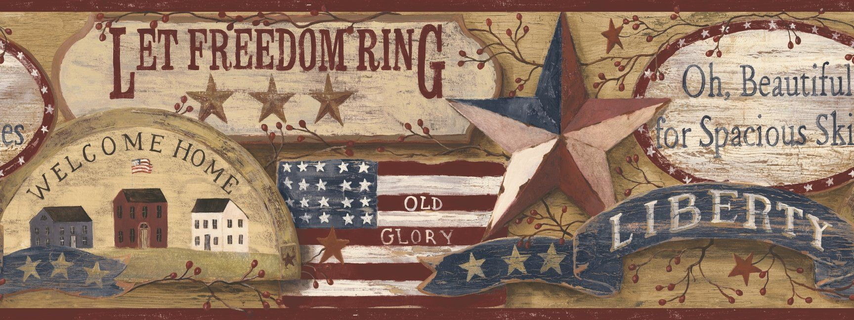 York Wallcoverings RF3638BD Country Book Americana Border