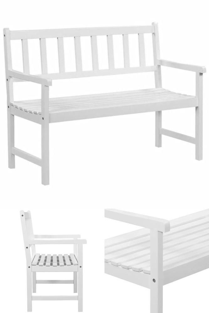 White Wooden Patio Bench Outdoor Garden Companion Seat Chair Lawn Furniture  | Outdoor Sofa Sets/Garden Table U0026 Chairs/ Patio Dining Sets | Pinterest |  Lawn ...