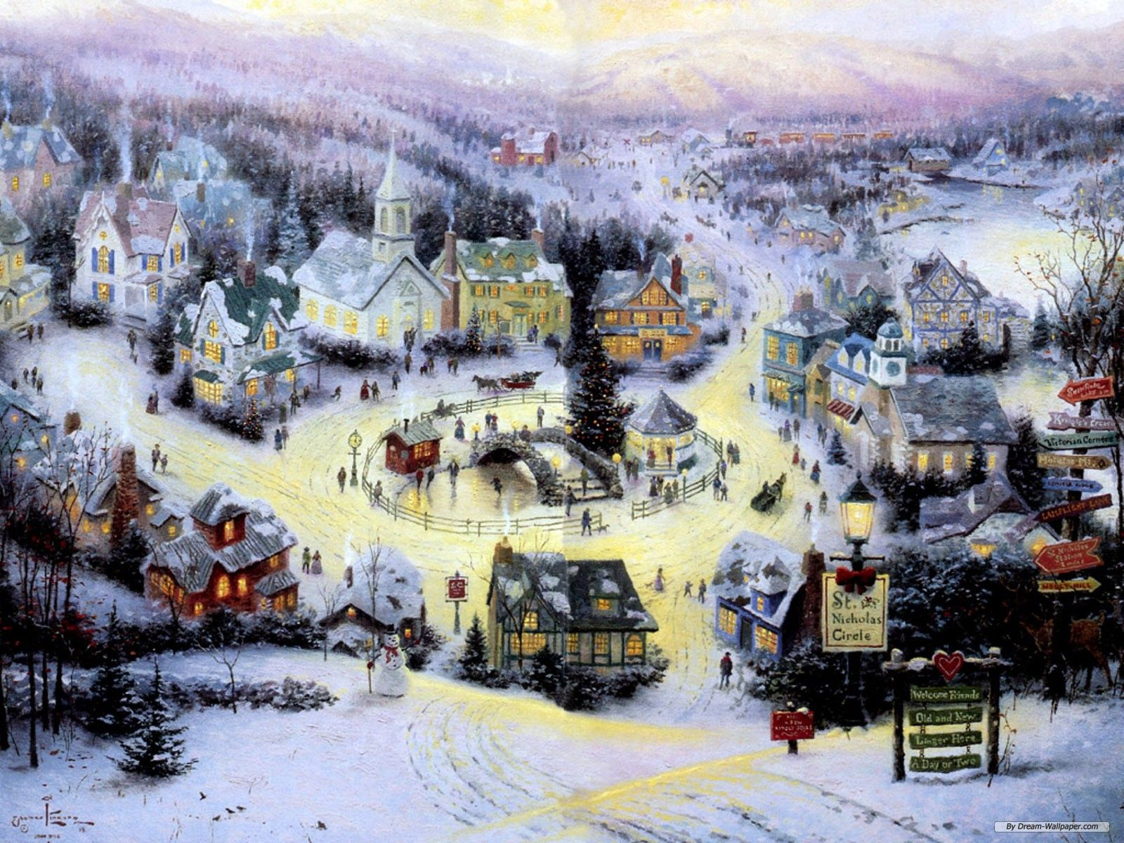 by Thomas Kinkade ~ Christmas winter village | Art in all its ...