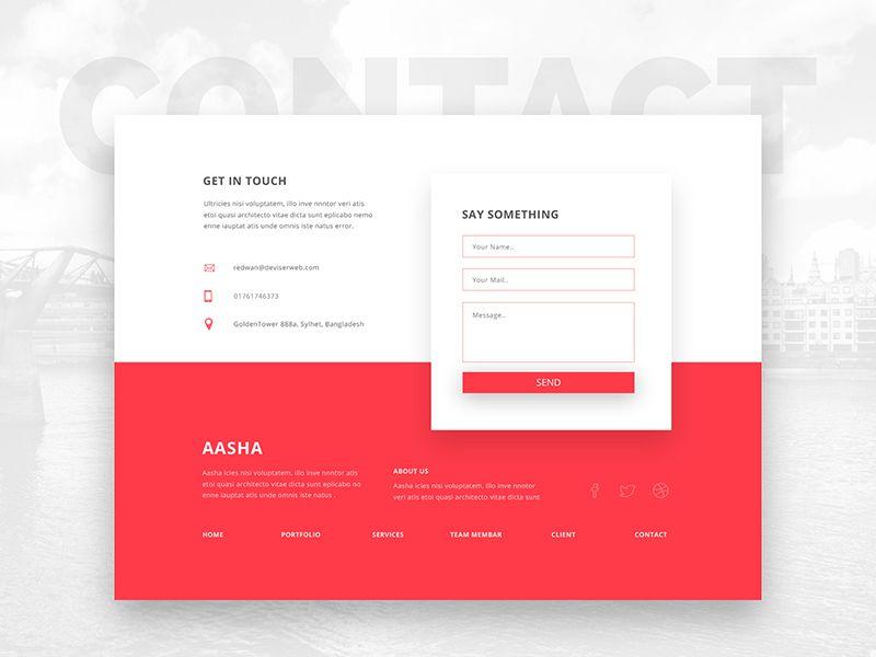 Contact Section Web Design Footer Design Web Development Design