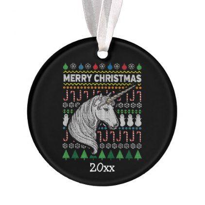 unicorn ugly christmas sweater wildlife series ornament xmas christmaseve christmas eve christmas merry xmas family