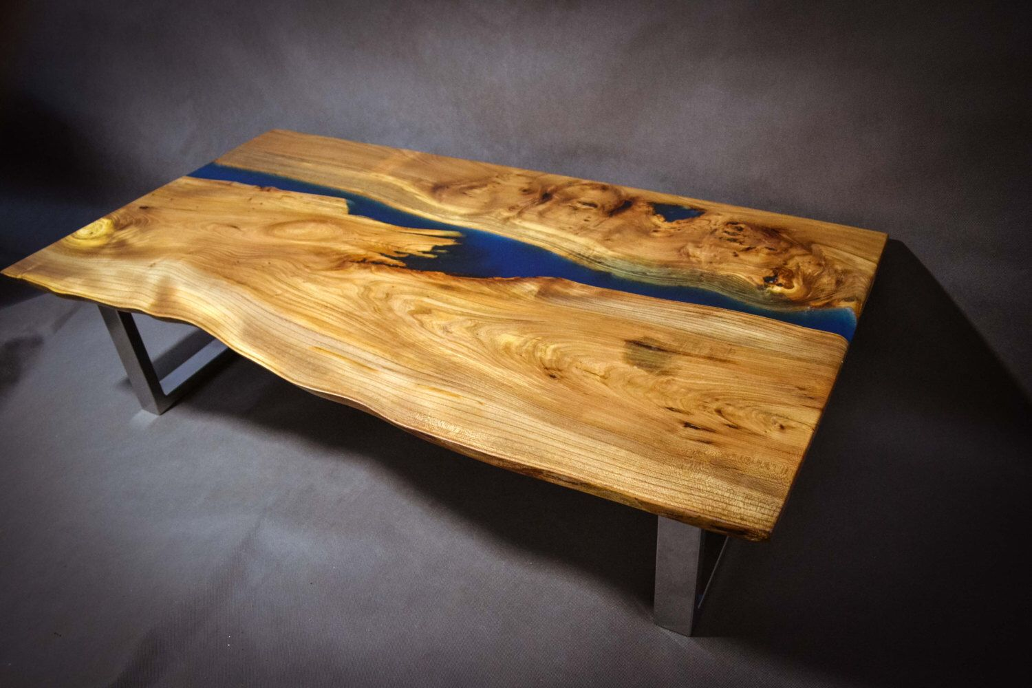Poco Resina Live edge Elm wood slab coffee table with resin inlays