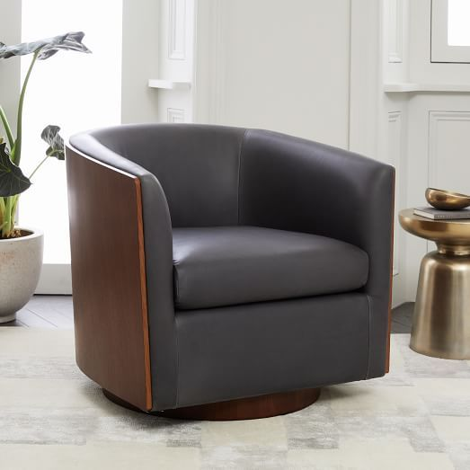Luther Leather Swivel Chair Leather Bedroom Modern Leather