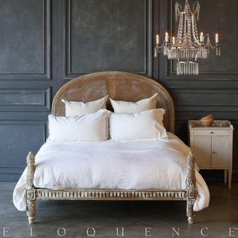 An Adorable Bed Frame Finished In A Chipping White Revealing Wood Along The Frame S Carved Details Vintage Bedroom Furniture White Bed Frame Vintage Bed Frame