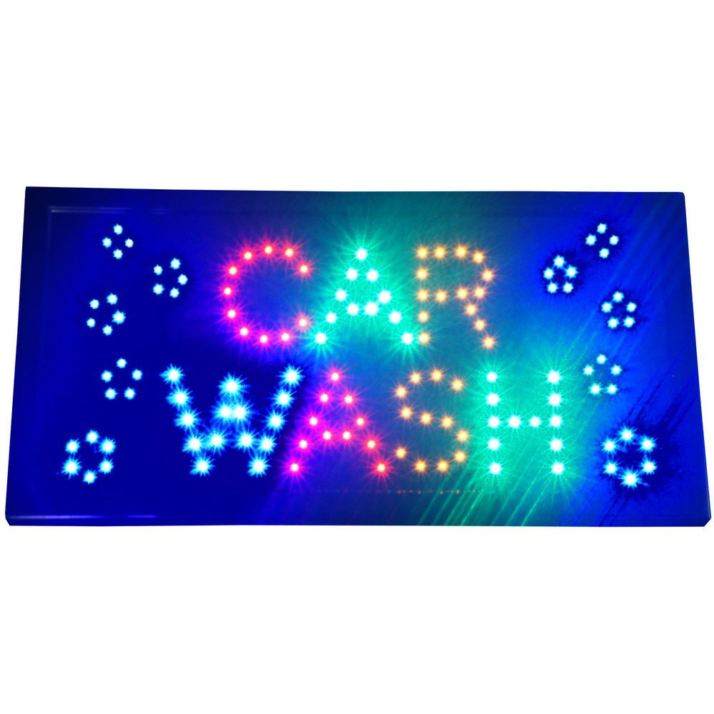 Bright Animated CAR WASH LED Open Business Window Sign 19x10