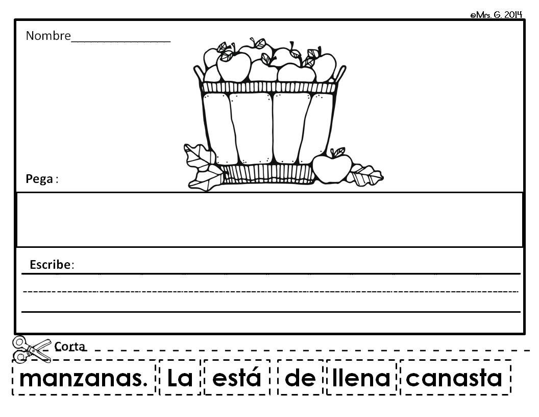 Scrambled Sentences In Spanish Apples