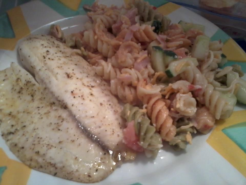 Photo of baked lemon peper butter talipa sides pasta salad made it myself