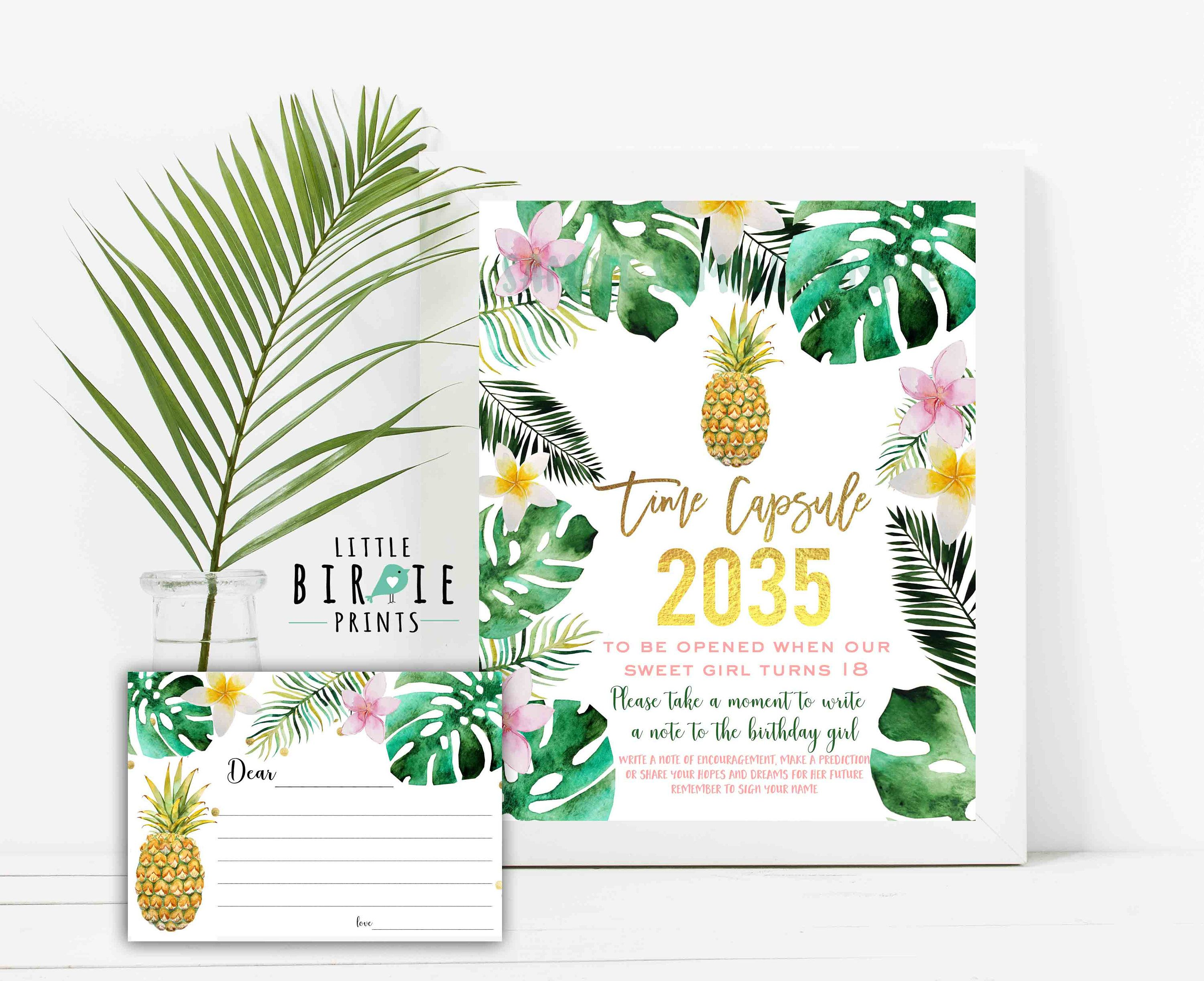 PINEAPPLE TIME CAPSULE SIGN AND CARDS FIRST BIRTHDAY TIME CAPSULE