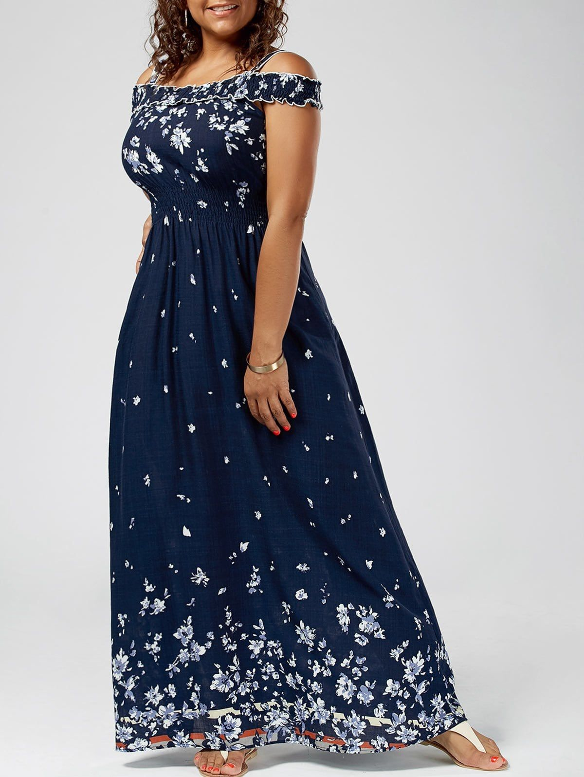 Plus size floral print cold shoulder maxi dress in old navy