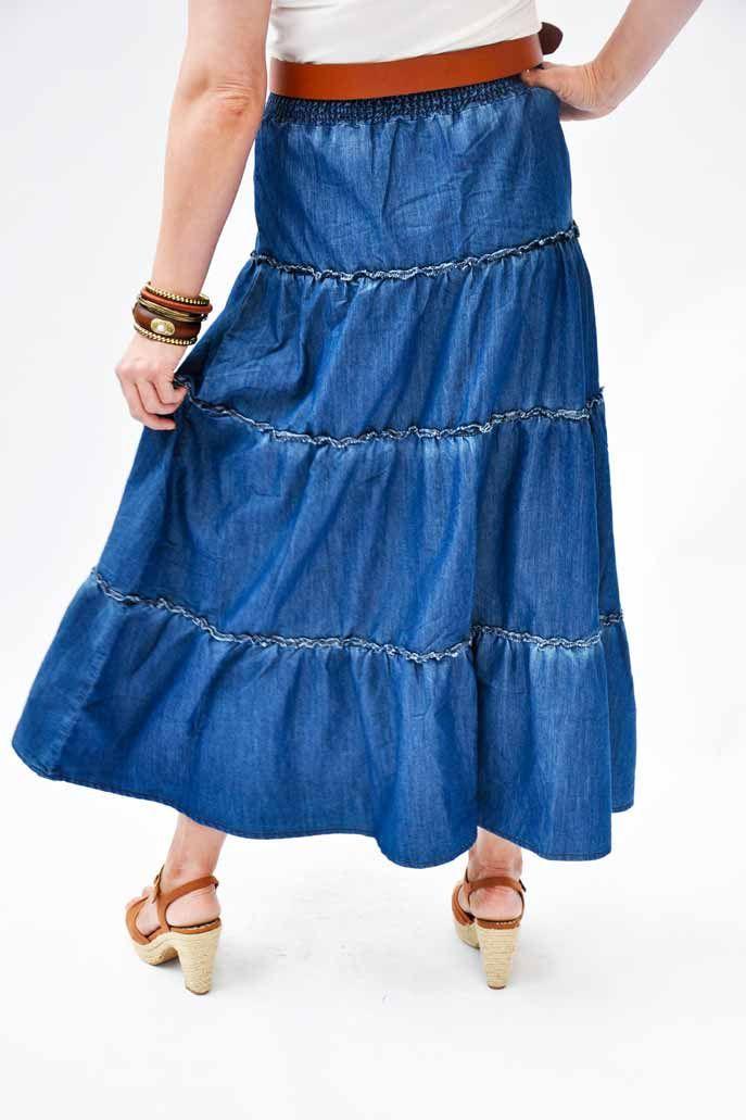 Modest long denim skirt. Flared ruffle jean skirt in lightweight ...