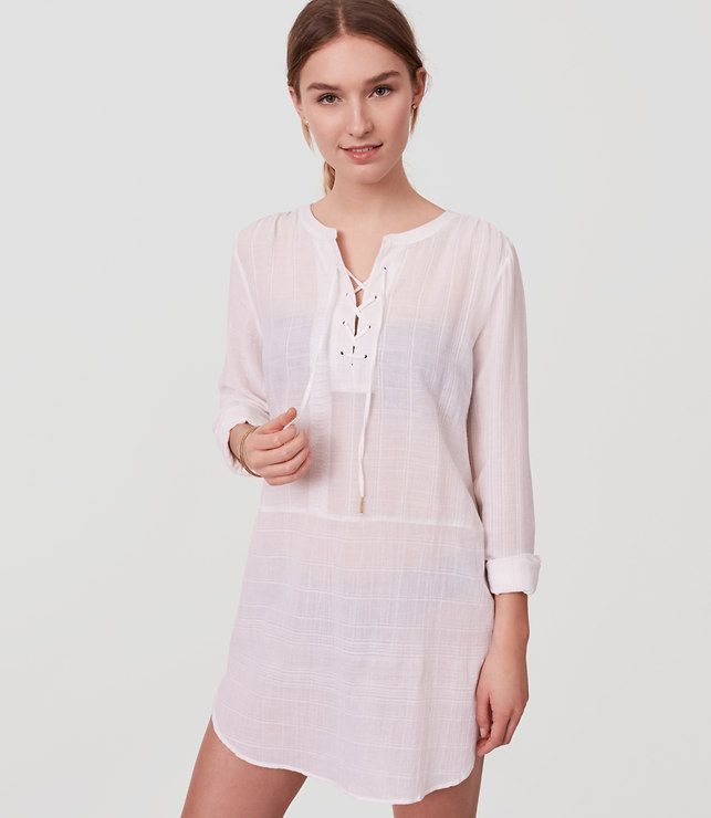 a0c68aff99 Primary Image of LOFT Beach Striped Lace Up Shirtdress | travel ...