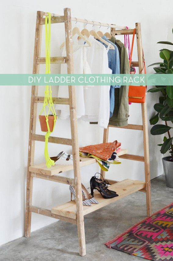 Make It Easy Diy Wooden Ladder Wardrobe Diy Ladder Clothing Rack Organizational Hacks