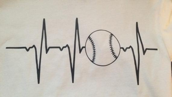 Heartbeat Line Art : Heartbeat baseball softball t shirt vinyl by rubyredembroidery