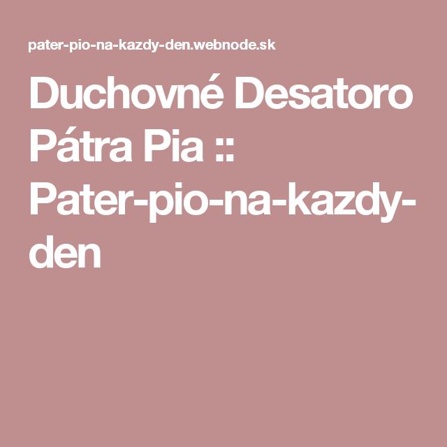 Duchovné Desatoro Pátra Pia  :: Pater-pio-na-kazdy-den