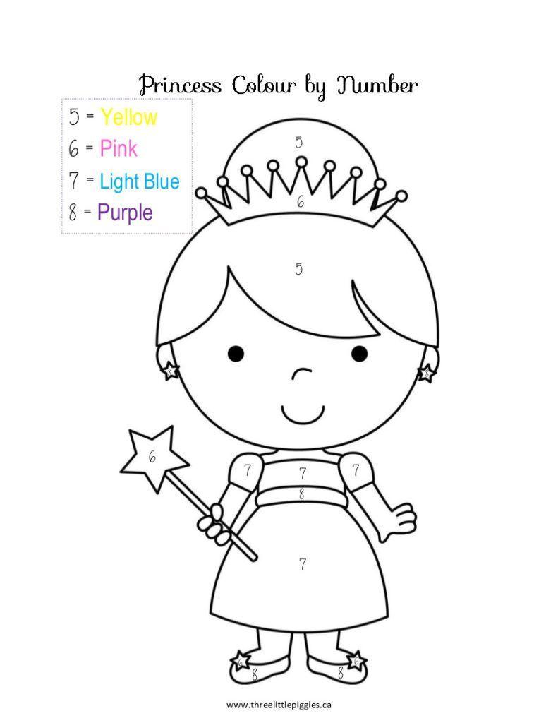 Color By Number Preschool Princess Coloring Numbers Preschool Preschool Coloring Pages