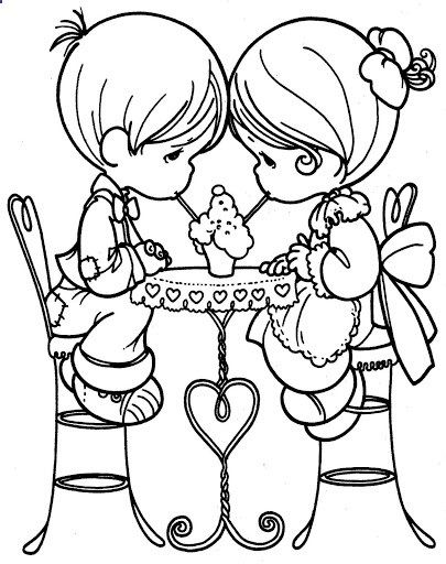 loving couple precious moments coloring pages | Love | Pinterest ...